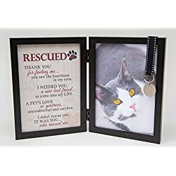 Rescued Pet Cat Memorial Bi-Fold Black Photo Frame and Poem, 5x7 New