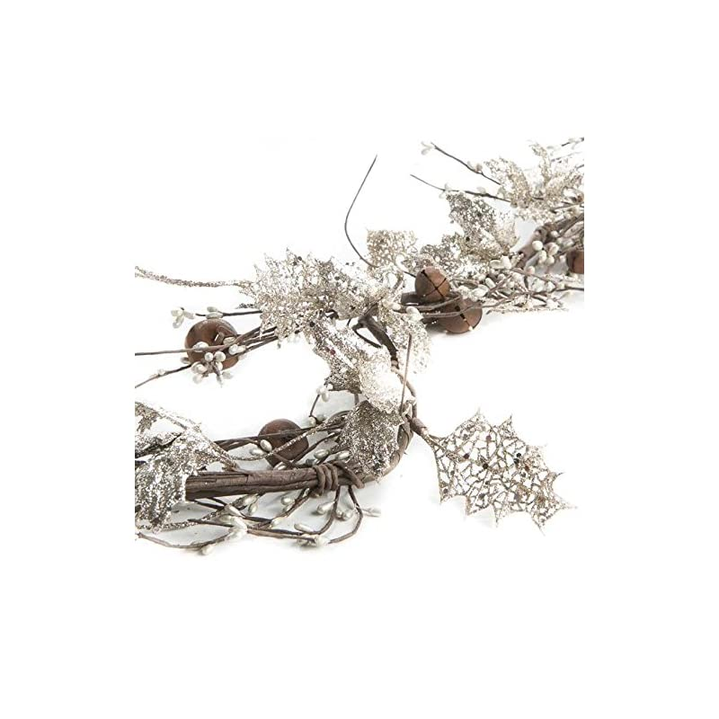 silk flower arrangements factory direct craft silver glittered artificial holly, rusted jingle bell and pip berry garland for holiday and home decor