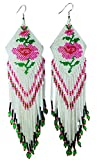 BeadsCorner Glass Beaded Extra Long Earrings Rose Design (White)