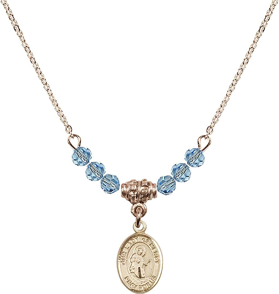 18-Inch Hamilton Gold Plated Necklace with 4mm Aqua Birthstone Beads and Gold Filled Our Lady of Mercy Charm.