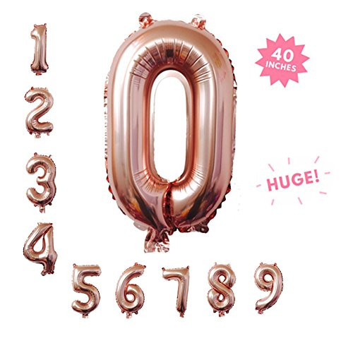40 Inch Rose Gold Jumbo Digital 0 Number Balloons Huge Giant Balloons Foil Mylar Number Balloons for Birthday Party,Wedding, Bridal Shower Engagement Photo Shoot, Anniversary (Rose Gold ,Number 0)