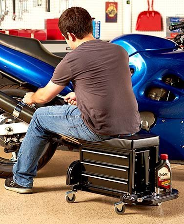 Rolling Work Seat with Built-In Toolbox