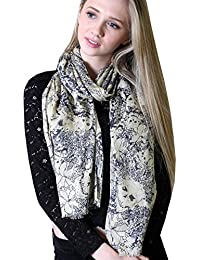 Women's Sugar Skulls Print Scarf - Beige with Navy Blue Outline