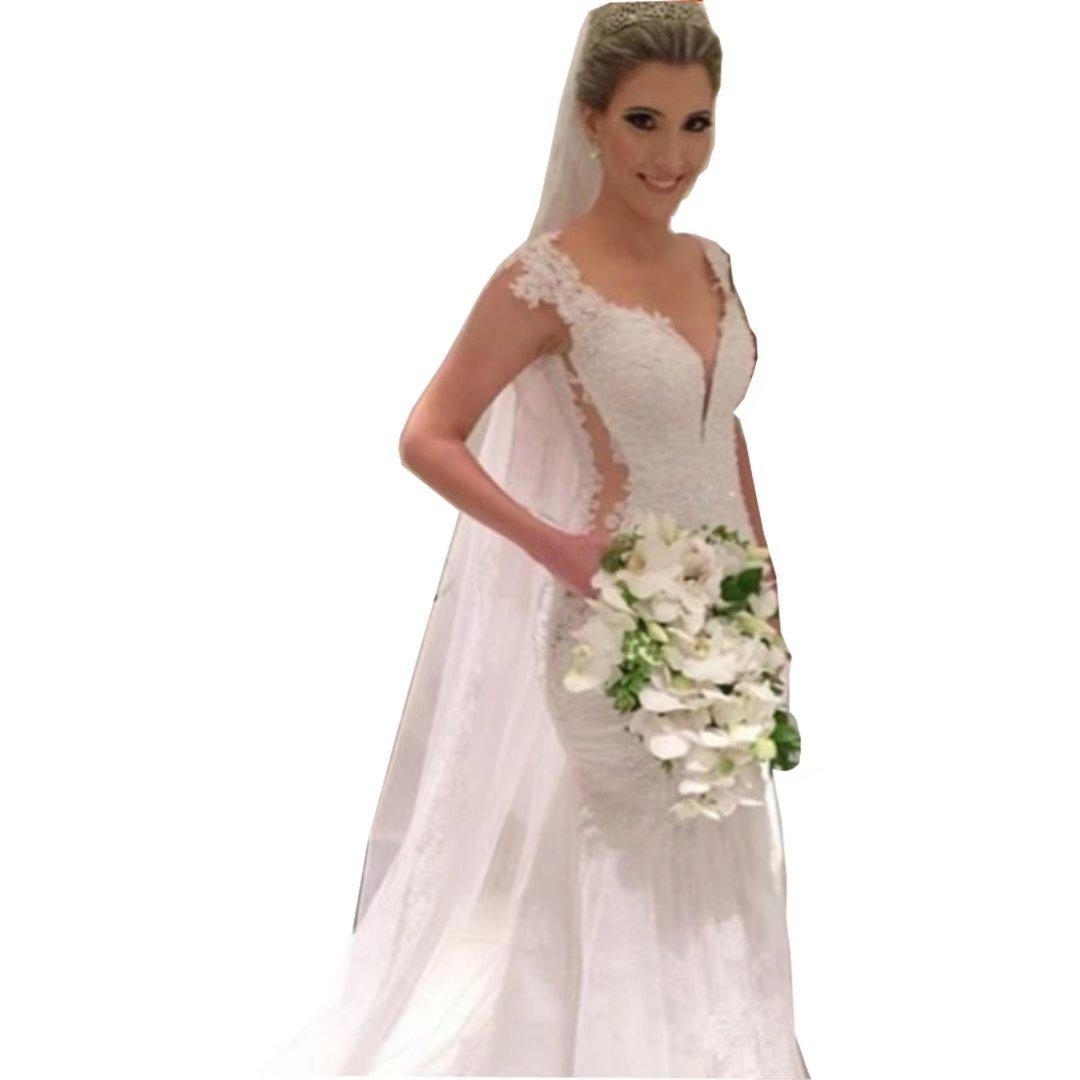 Chady Deey V Neck Mermaid Wedding Dresses 2017 Lace Appliques