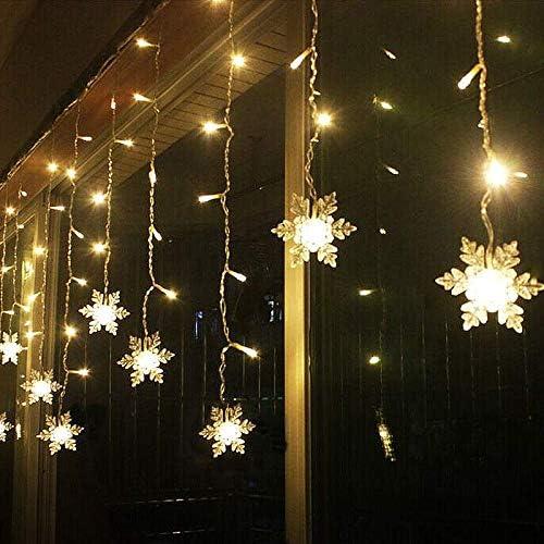Cortina de Luces, THOWALL 5.5*0.7M 93LED Cadena de Luces con 16 Copos de Nieve y 16 Ganchos para Exteriores e Interiores, 8 Modos de Luz, Impermeable, Decoración para Navidad, Festival, Fiestas, Boda