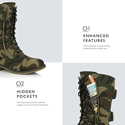 DailyShoes Women's Military Lace Up Buckle Combat Boots Mid Knee High Exclusive Credit Card Pocket, Classic Army, 6 B(M)