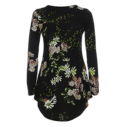Chanyuhui Women's Tunic Tops Shirt Crewneck Long Sleeve Floral Shirts Flared Casual Blouse Clearance Sale (M, Black #2) (Silky Blouse Cotton)