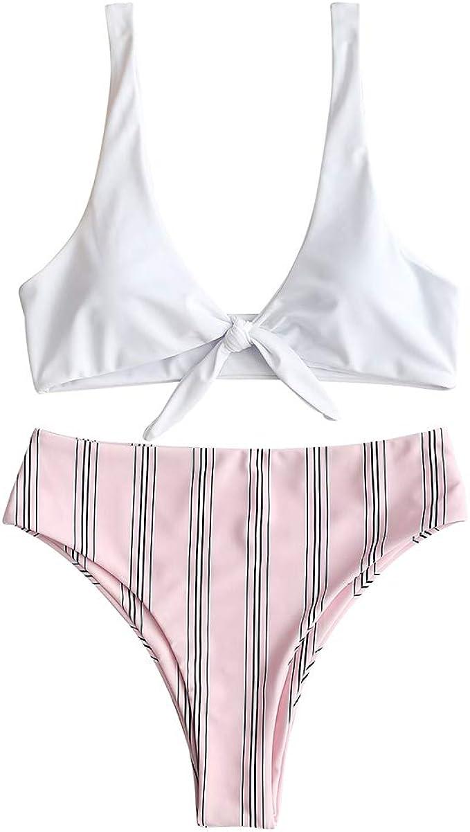 ZAFUL Damen Geknoteter Brazilian Bikini Gestreifter Slip Beachwear Bademode Sommer