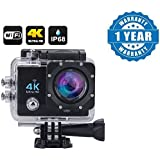 Captcha Wi-Fi 4K Waterproof Sports Action Camera - 4K Ultra Hd, 16Mp,2 Inch LCD Display, Hdmi Out, 170 Degree Wide Angle