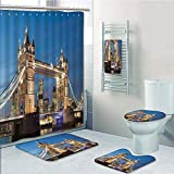 Bathroom Fashion 5 Piece Set shower curtain 3d print,London,Scenery of Landmark Tower Bridge at Twilight With Skyscrapers England UK Image,Blue and Ivory,Bath Mat,Bathroom Carpet Rug,Non-Slip,Bath Tow