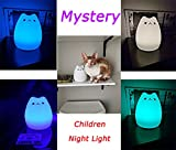 Mystery Cat Night Light for Kids, Soft Silicone LED Baby Nursery Sleep Relaxing Tap Light, Children Toy Nightlight, Decorative Desk Light for Bedroom