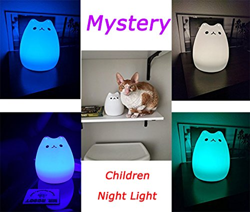 Mystery 3-Modes Portable Silicone LED Night Lamp, USB Rechargeable Children Night Light with Warm White, Single Color and 7-Color Breathing Modes, Sensitive Tap Control for Baby Adults Bedroom (C)