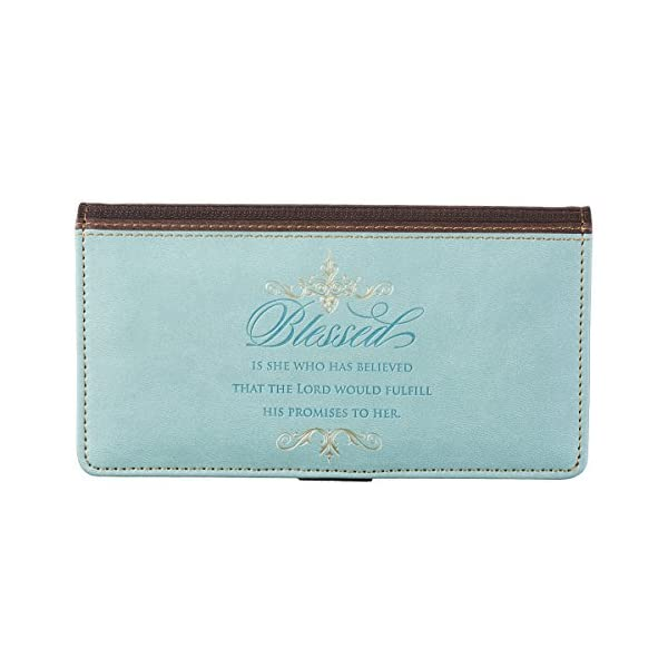 Checkbook-Cover-Blessed-Is-She-Debossed-LuxLeather-Blue-and-Brown
