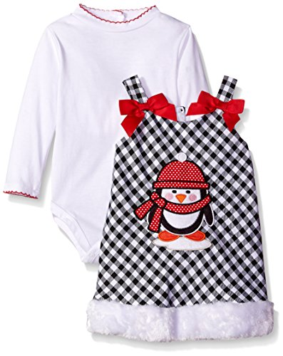 Youngland Baby Girls' 2 Piece Dress Plaid Penguin Applique Jumper and Bodysuit, White/Black, 12 Months ()