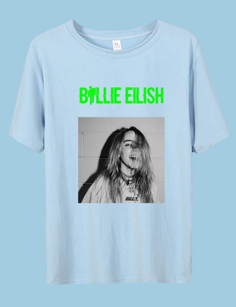 Siennaa Billie Eilish Tshirt Damen,Teenager M/ädchen Bellyache Neon Gr/ün 3D Druck Shirt Frauen Herren Bad Guy Sommer T-Shirts When We All Fall Asleep Kurzarm Tshirts Shirt Oberteile Tops Merch