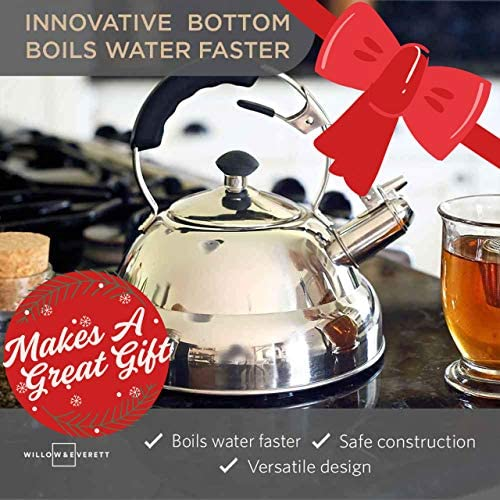 Tea Kettle – Stainless Steel Whistling Teapot with Capsule Bottom and Mirror Finish, 2.75 Quart Tea Pot – Stove Top Tea Maker Infuser Teapots Strainer Included Single Handle