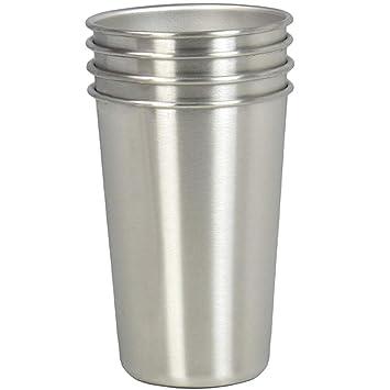 Tazas de acero inoxidable, juego de 4 vasos de 16oz, taza de cerveza apilable, tazas de metal sanas sin BPA