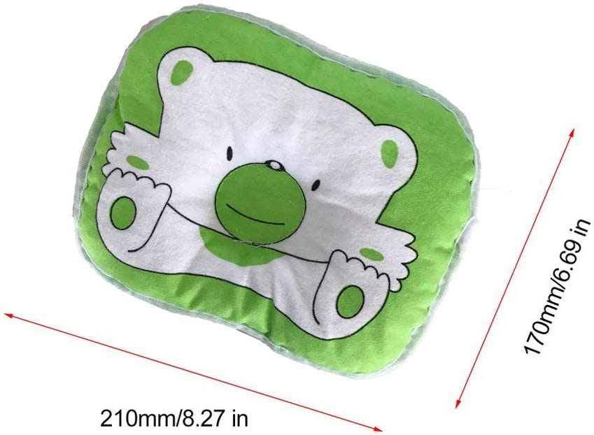 Deniseonuk Lovely Cute Bear Cartoon Pattern Pillow Newborn Infant Baby Support Cushion Pad Prevent Flat Head Cotton Pillow for Baby