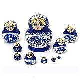 1 Set 10Pcs Russian Dolls Wooden Hand Painted Nesting Babushka Matryoshka Presen