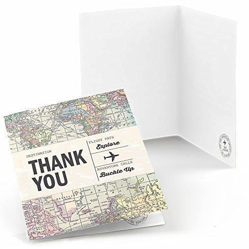 Big Dot of Happiness World Awaits - Travel Themed Party Thank You Cards (8 Count)