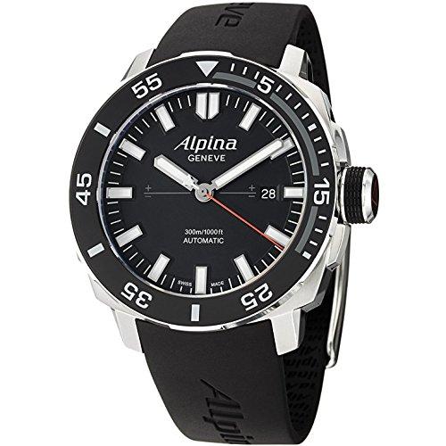 Alpina Adventure Black Dial Silicone Strap Men's Watch AL525LB4V6