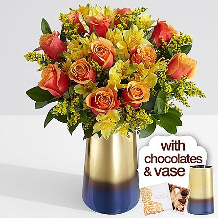 Deluxe Autumn Days with Nothern Lights Vase & Chocolates - eshopclub Same Day Thanks giving Flower Delivery - Online Thanksgiving Flower - Thanksgiving Flowers Bouquets - Send Thanks giving Flowers