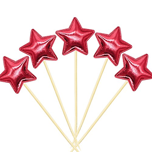 Cake Star Birthday (20Pcs Cupcake Toppers Muffin Decoration Red Star Cupcake Toppers Fun Cake Topper Picks Mini Birthday Cake Decor Shiny Color Sticks for Baby Boys Girls Kids Birthday Party and Wedding Supplies)