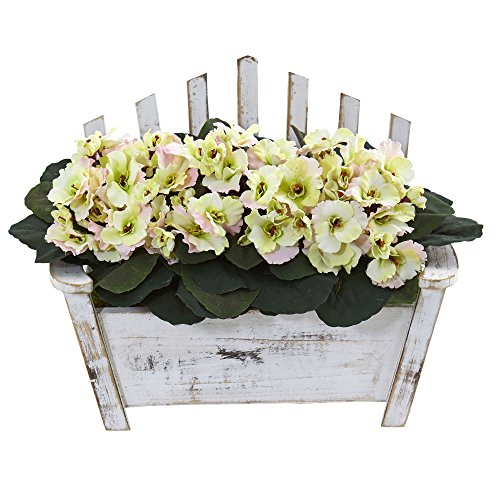 African Violet Flowering (Nearly Natural African Violet Artificial Plant in Wooden Bench Planter)