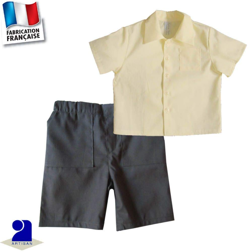Poussin Bleu - Bermuda et chemise 0 mois-10 ans Made In France Couleur - Jaune, Taille - 60 cm 3 mois