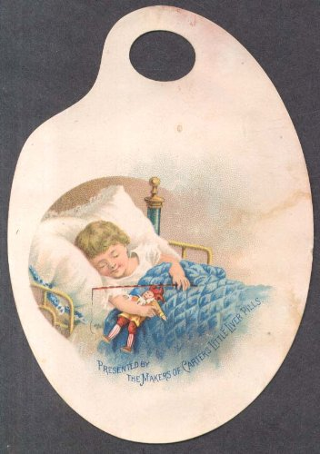 - Carter's Iron Pills trade card palette child sleeps with harlequin toy 1880s
