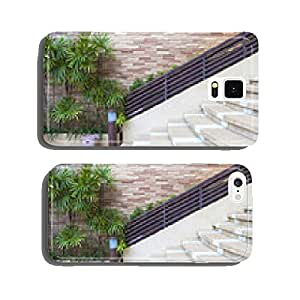 beautiful brick wall and decorated green plants next to stair an cell phone cover case Samsung S6