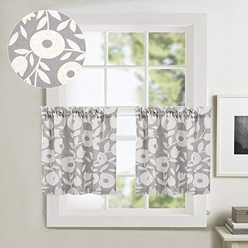Tier Curtains for Kitchen Windows 24 inch Linen Textured Cafe Curtains Vintage Floral Printed Window Curtains for Bathroom Rod Pocket Short Curtains, 1 Pair, Grey and White (Curtains Gray Cafe)