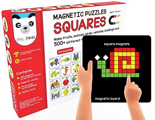 Magnetic Puzzles : Squares (Includes 200 colorful magnets + 90 puzzles + magnetic board + display (Square Pattern Puzzle)
