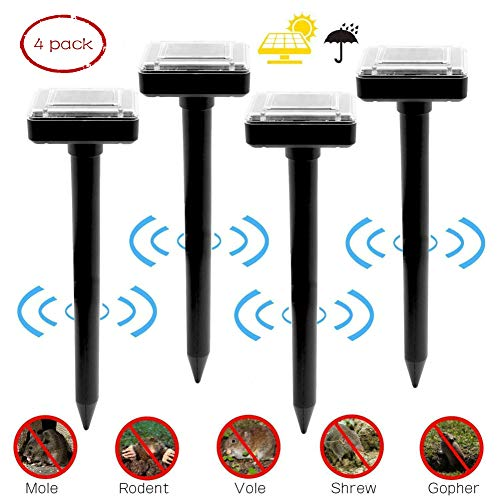 Solar Mole Repellent 4 Pack, Ultrasonic Pest Control Rodent Repellent Ultrasonic Pest Repeller Solar Powered Gopher Repeller for Outdoor Lawn Garden Yards,Waterproof ()