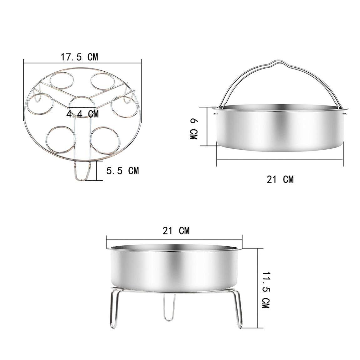inoxydable porte-oeufs grille /à vapeur accessoires pour 5//6//8qt 5//6Litre autocuiseurs pot instantan/é 21CM Vindar panier cuit vapeur