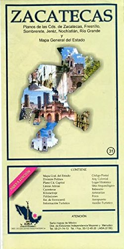 Used, Zacatecas, Mexico, State and Major Cities Map (Spanish for sale  Delivered anywhere in USA