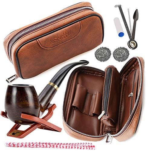 (Scotte Tobacco Smoking Pipe,Leather Tobacco Pipe Pouch Pear Wood Pipe Accessories(Scraper/Stand/Filter Element/Filter Ball/Small Bag/Box) (Brown))