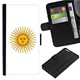 [Solar Design from Flag of Argentina] For Samsung Galaxy Note 4 IV/SM-N910, Flip Leather Wallet Holsters Pouch Skin Case
