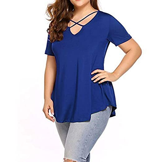 4ee236d3 Zaidern Women Tops Casual Blouse Women's Plus Size Tunic Tops Criss Cross V  Neck Short Sleeve
