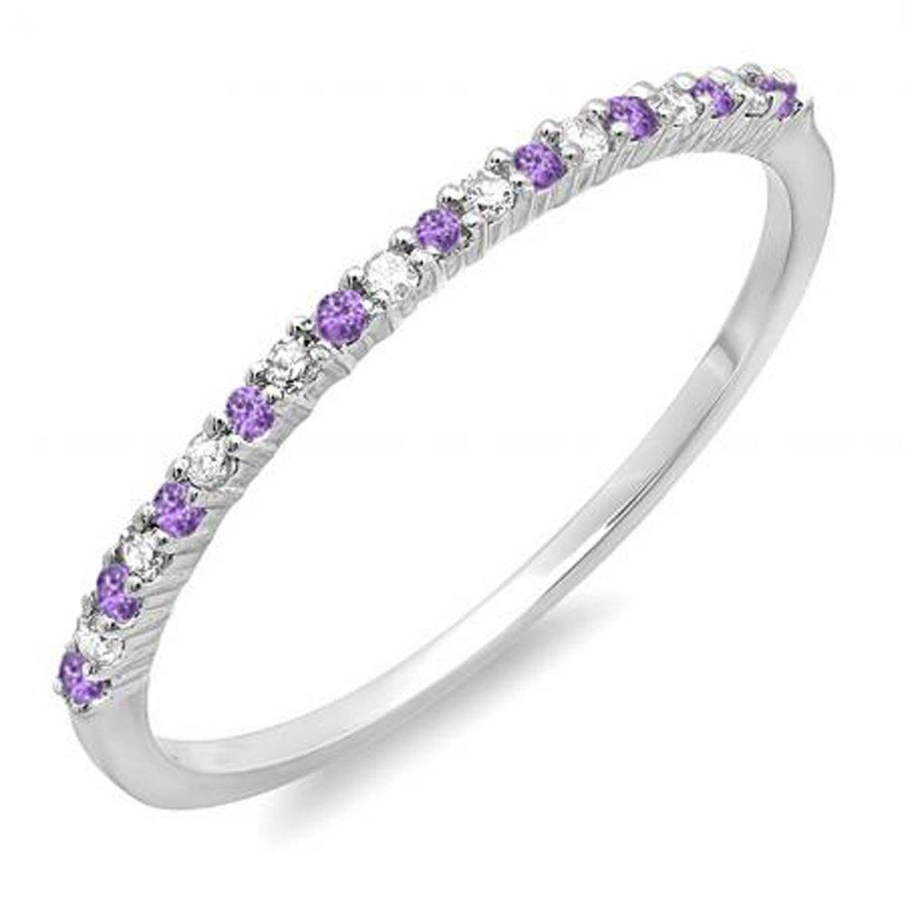 14K White Gold Round Amethyst & White Diamond Ladies Anniversary Wedding Band Stackable Ring (Size 7.5)