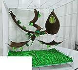 Brown Sugar Pet Store 5 piece Sugar Glider Cage Set Oval Forest Pattern Dark Brown Color