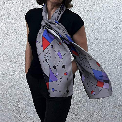 Long Silk Scarf Printed in Gray Blue Abstract Based on Hand-Painted Drawing