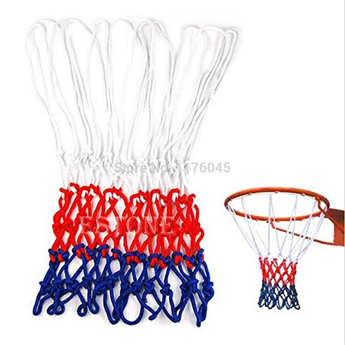 Gv Net (Govinz(TM£ 1pc Standard White/Red/Blue Nylon Basketball Netball Goal Hoop Net Netting Sports)
