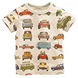 Metee Dresses Boy's Short Sleeve Cotton T-Shirts Car Print Tops Size 3 Years,3T(2-3 Years),Beige