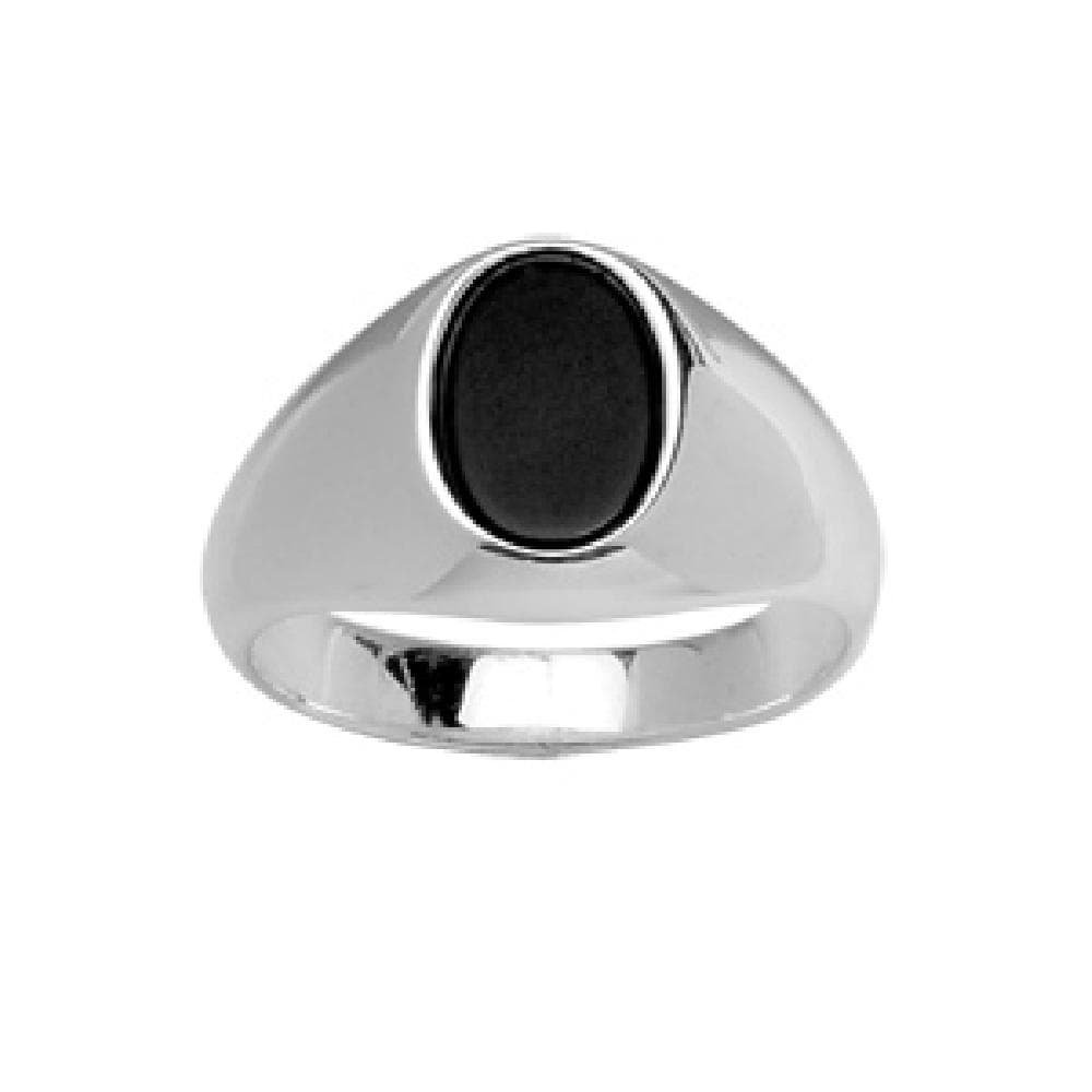 So Chic Jewels - 925 Sterling Silver Oval Black Onyx Signet Ring - Size 7.5