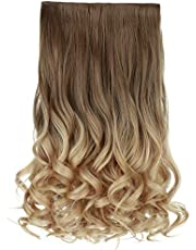 """REECHO 20"""" 1-pack 3/4 Ombre Full Head Curly Wave Clips in on Synthetic Hair Extensions Hair pieces for Women 5 Clips 4.6 Oz Per Piece - Ombre Light Brown to Dirty Blonde"""