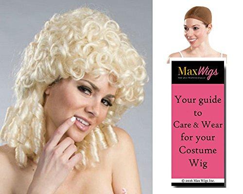 Bundle 3 items: Shepherdess Colonial Little Miss Muffet Curls by Enigma Costume Wigs,Blonde, Wig Cap, MaxWigs Costume Wig Care (Shepherdess Costume)