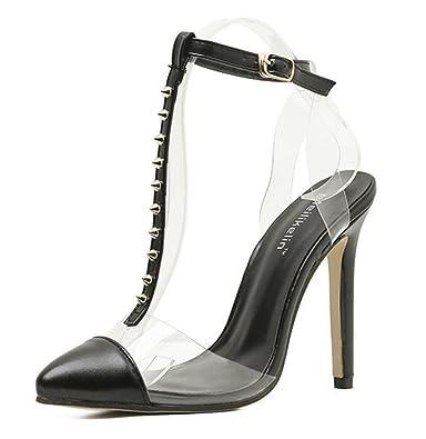 SHOWHOW Damen Nieten Spitz Zehen T-Straps High Heels Pumps mit Schnalle