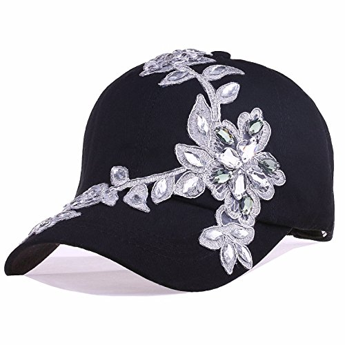 Black Baseball Cap Women Bling Lace Flower Rhinestone Snapback Golf Sun Hats Adjustable (Black)