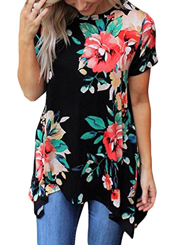 FARYSAYS Women's Casual Floral Print Tunic Loose Fitting Tops Short Sleeve T-Shirt Black Large